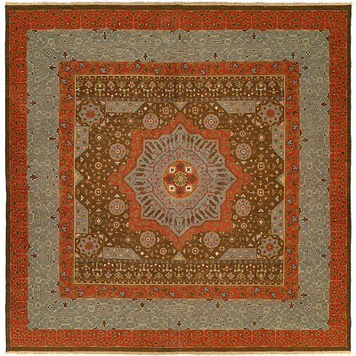 Wellington Handmade Red/Gray Area Rug Rug Size: Square 10