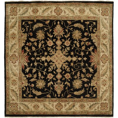 Wuhan Hand-Knotted Black/Ivory Area Rug Rug Size: Square 6