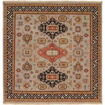 Eureka Hand-Woven Brown/Black Area Rug Rug Size: Square 6
