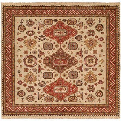 Jeddah Hand-Woven Ivory/Brown Area Rug Rug Size: Square 8