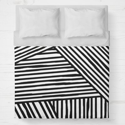 Orion Lightweight Duvet Cover Size: King, Color: Black
