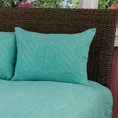 Corinne  Matelasse Quilted Sham Size: King, Color: Aqua