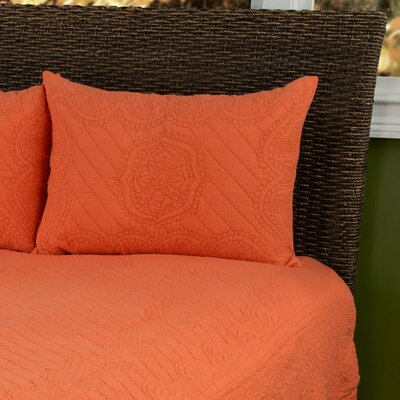 Corinne  Matelasse Quilted Sham Size: King, Color: Orange