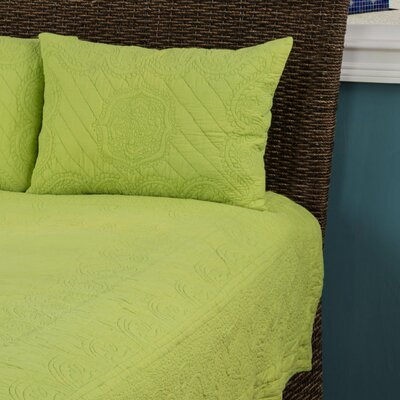 Corinne  Matelasse Quilted Sham Size: King, Color: Lime