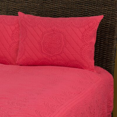 Corinne  Matelasse Quilted Sham Size: King, Color: Coral