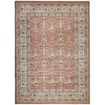 Garda Brown/Red Area Rug Rug Size: 53 x 73