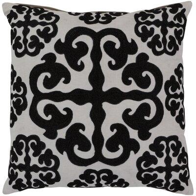 Lush Lattice Throw Pillow Size: 18, Color: White / Caviar, Filler: Polyester