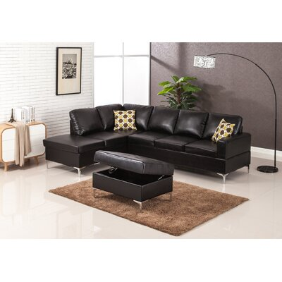 Elyse Sectional Upholstery: Black