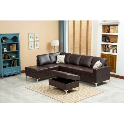 Elyse Sectional Upholstery: Chocolate
