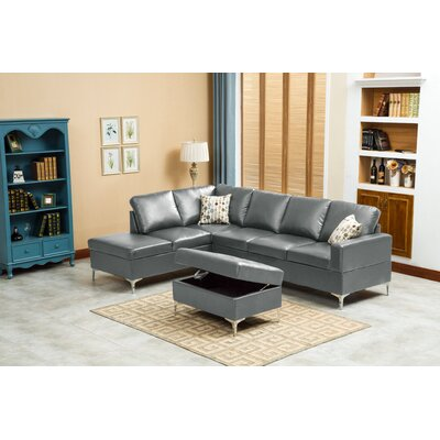 Elyse Sectional Upholstery: Gray
