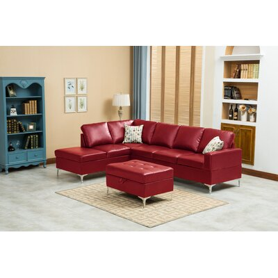 Elyse Sectional Upholstery: Red