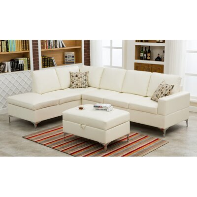 Elyse Sectional Upholstery: White