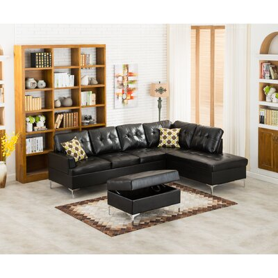 Emily Sectional Upholstery: Black