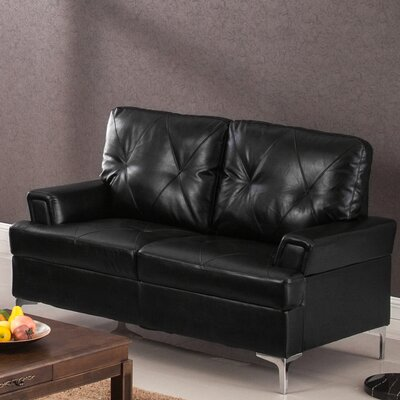 Elma Loveseat Upholstery: Black
