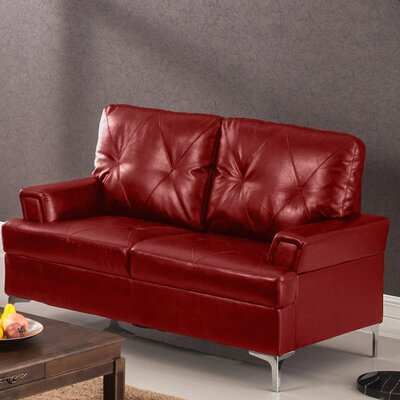 Elma Loveseat Upholstery: Red