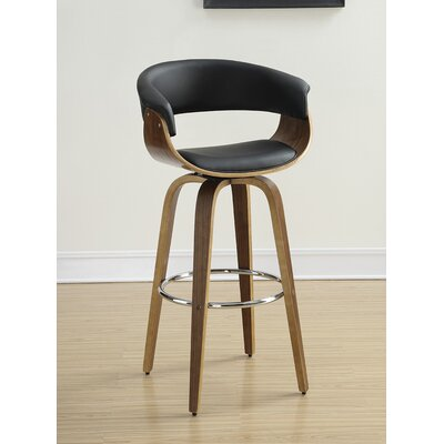 39 Swivel Bar Stool Upholstery: Black