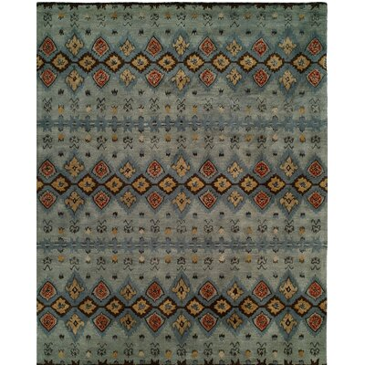 Hand-Tufted Gray/Blue Area Rug Rug size: 96 x 136