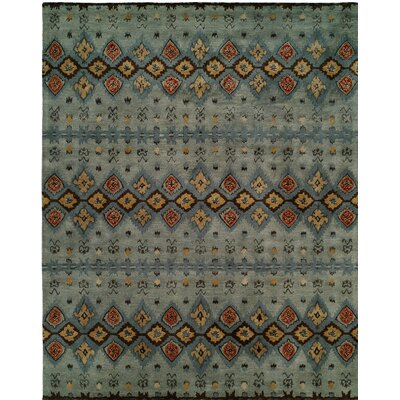 Hand-Tufted Gray/Blue Area Rug Rug size: 5 x 8