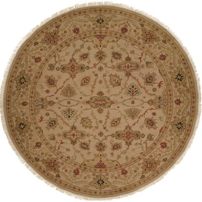 Hand-Knotted Brown Area Rug Rug size: Round 6