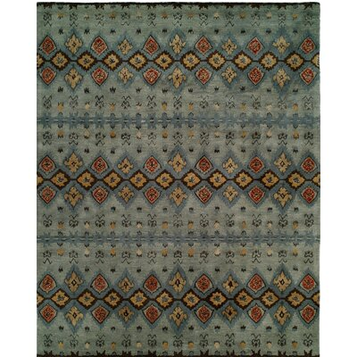 Hand-Tufted Gray/Blue Area Rug Rug size: Round 6