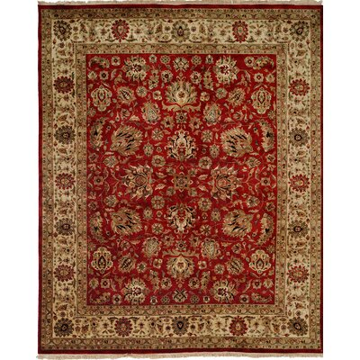 Hand-Knotted Red/Beige Area Rug Rug size: Runner 26 x 12