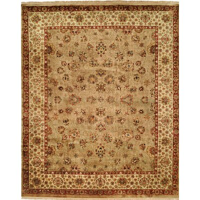 Hand-Knotted Beige Area Rug Rug size: 6 x 9