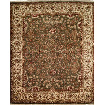 Hand-Knotted Brown/Green Area Rug Rug size: Round 10