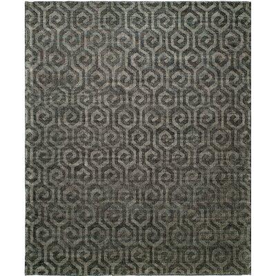 Handmade Gray Area Rug Rug Size: 6 x 9