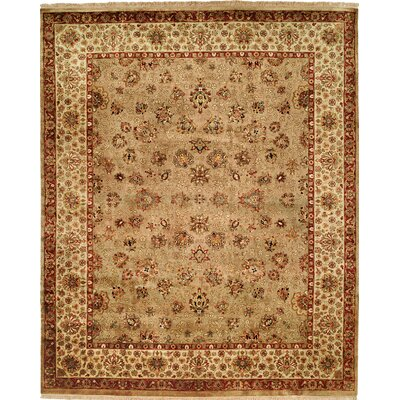 Hand-Knotted Beige Area Rug Rug size: 9 x 12