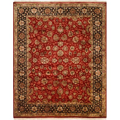 Hand-Knotted Red/Black Area Rug Rug size: Round 6