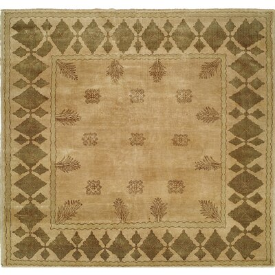 Hand-Knotted Beige/Brown Area Rug Rug Size: 2 x 3
