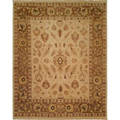 Hand-Knotted Beige/Brown Area Rug Rug size: 11 x 16