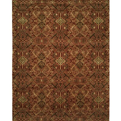 Hand-Woven Brown/Red Area Rug