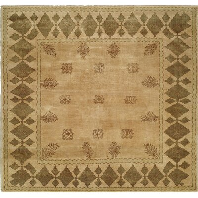 Hand-Knotted Beige/Brown Area Rug Rug Size: 8 x 10