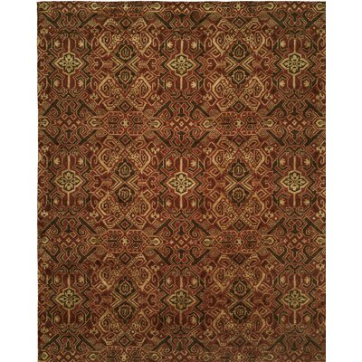 Hand-Woven Brown/Red Area Rug Rug size: 9 x 12