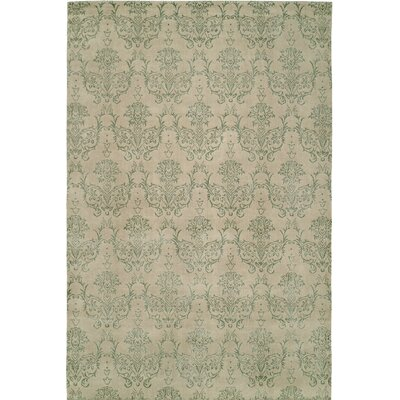 Hand-Woven Beige/Green Area Rug Rug size: 4 x 6