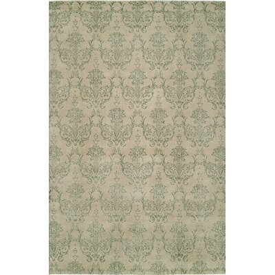 Hand-Woven Beige/Green Area Rug Rug size: 8 x 10