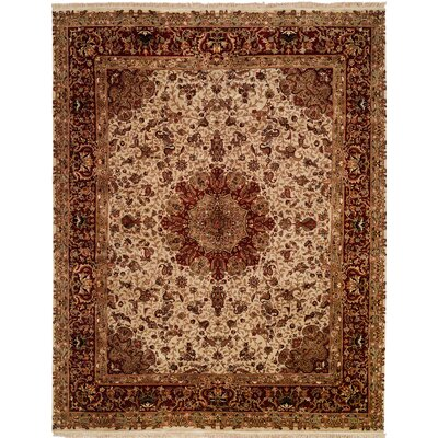 Hand-Knotted Beige/Red Area Rug Rug size: Runner 26 x 8