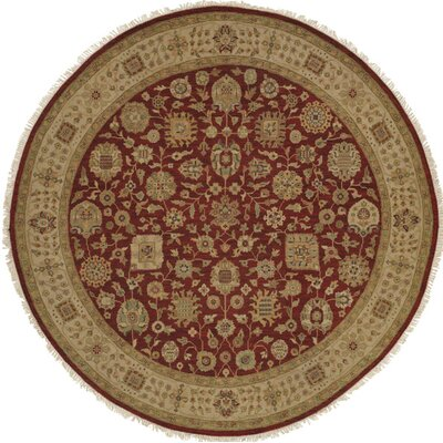 Hand-Woven Red/Brown Area Rug Rug size: Round 8