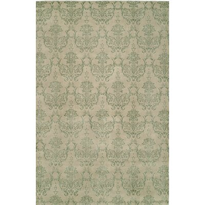 Hand-Woven Beige/Green Area Rug Rug size: 9 x 12