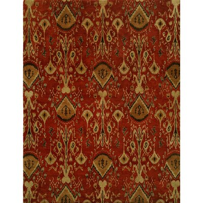 Hand-Tufted Red/Brown Area Rug Rug size: Rectangle 96 x 136
