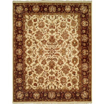 Hand-Knotted Brown/Beige Area Rug Rug size: 9 x 12