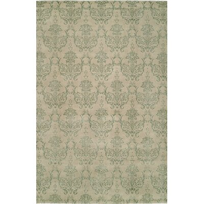 Hand-Woven Beige/Green Area Rug Rug size: 10 x 14