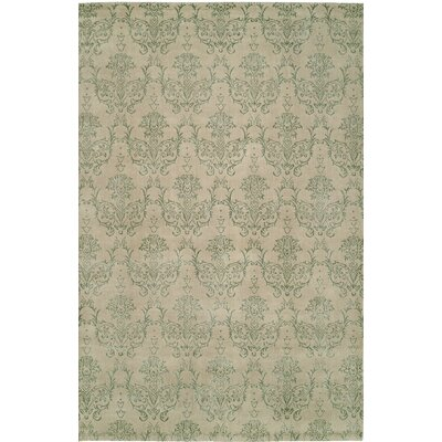 Hand-Woven Beige/Green Area Rug Rug size: 6 x 9