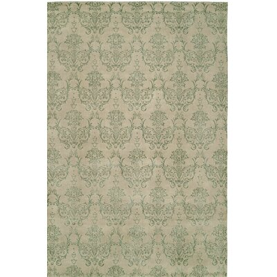 Hand-Woven Beige/Green Area Rug Rug size: 2 x 3