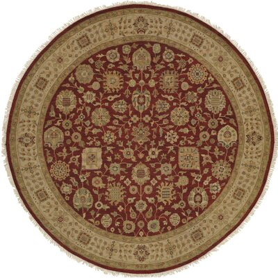 Hand-Woven Red/Brown Area Rug Rug size: Round 10