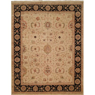 Hand-Knotted Brown/Black Area Rug Rug Size: 10 x 14