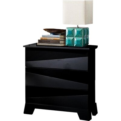 Karolina 3 Drawer Nightstand Finish: Black