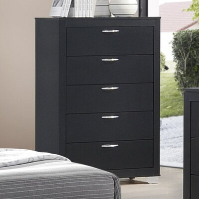 Ketterer 5 Drawer Chest Color: Black