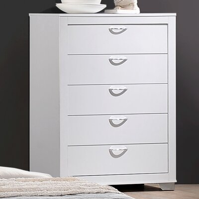 Ketterer 5 Drawer Chest Color: White